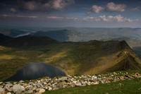 Red Tarn, Striding Edge and Ullswater from Helvellyn Summit