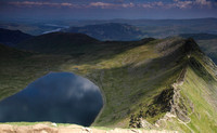 Red Tarn, Ullswater and Striding Edge from Helvellyn Summit