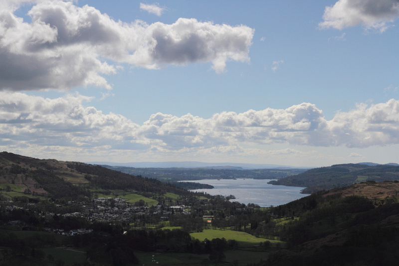 Ambleside & Windermere looking back from route up to Nab Scar