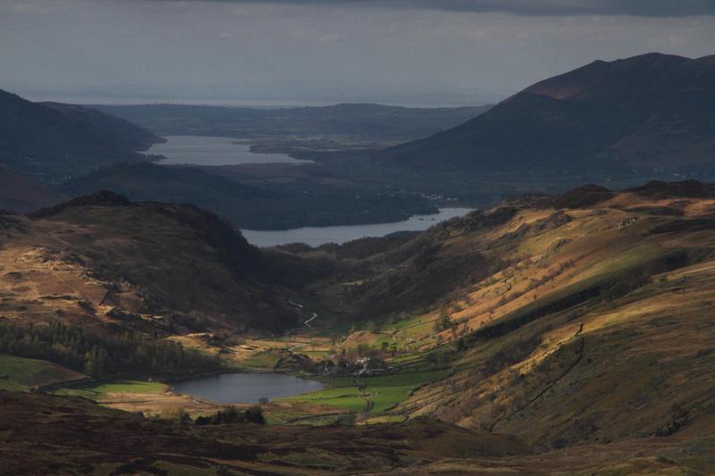 Watendlath Tarn, Derwent Water & Bassenthwaite Lake on descent from Ullscarth