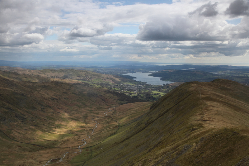 View back towards Windermere on ascent from Heron Pike to Great Rigg